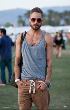 Shop this look on Lookastic: http://lookastic.com/men/looks/grey-tank-and-tobacco-shorts/1875 — Grey Tank — Tobacco Shorts
