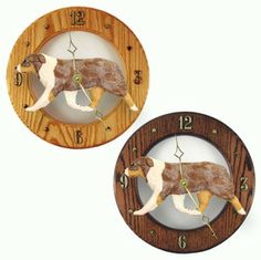 Australian Shepherd Wood Wall Clock Plaque Red available at www.DogLoverStore.com