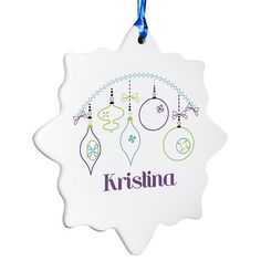 Personalised Retro Bauble Ceramic Tree Decoration  from Personalised Gifts Shop - ONLY £9.99