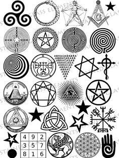 Black ceramic decals. Magic symbols. For sale at the Etsy shop of Stained Glass Elements. Zwarte keramische transfers, magie, symbolen, spiralen, ster, labyrint, ouroboros, keramische transfers, transfers keramiek, glas decals
