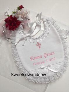 Baby Bandana Bib by BWW P... Christening Bib with personalised girls name pink