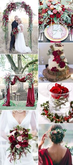 bright and elegant burgundy and greenery wedding color ideas for fall