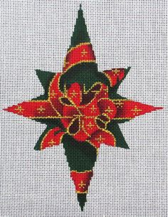 HP Needlepoint 18ct ASSOCIATED TALENTS 8-Point Green Star w/Red & Gold Bow-KM55 #Handpainted