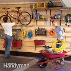 Awesome custom adjustable garage storage system-see multiple pins for additional photos, easy to rearrange and change to fit your needs!