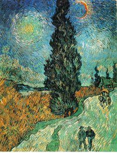 「糸杉のある道(夜の星空、荷車、通行人)」 1890  92 x 73 cm  クレラー・ミュラー国立美術館 オッテルロー オランダ