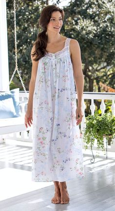 Eileen West floral-print nightgown in breathable cotton lawn features pintucking, scallop-edged lace straps and detailing and button-front placket. Cotton Nighties, Cotton Sleepwear, Sleepwear Women, Night Gown Dress, Nightgown Pattern, Wedding Night Lingerie, Nightgowns For Women, Lingerie Collection, Lounge Wear