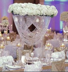 Wonderfull tall acrylic crystal table centerpiece wedding chandelier with large wedding table centerpieces Chandelier Centerpiece, Crystal Centerpieces, Wedding Table Centerpieces, Flower Centerpieces, Centerpiece Ideas, Tall Centerpiece, Flower Vases, Table Decorations, Wedding Vases