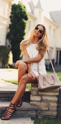 Women's White Casual Dress, Pink Leather Crossbody Bag, and Dark Brown Gladiator Sandals