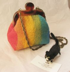 Felted wool bags and purses, vintage,mori girl, rainbow bag and purse, colourful with  metal chain,