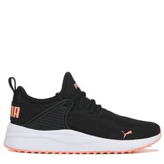 Puma Women's Pacer Next Cage Sneakers (Black/Coral) converse sneakers Running Trendy outfit Puma Sneakers, Casual Sneakers, Sneakers Fashion, Shoes Sneakers, Women's Shoes, Girls Sneakers, Running Sneakers, Shoes Men, Dance Shoes