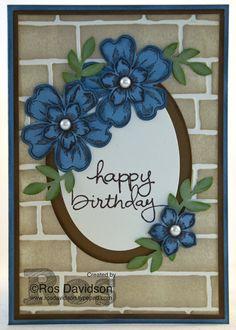 Feminine birthday card #endlesswishes #petitepetals #flowershop #brickwall #flowers #stampinup #cardmaking #rosdavidson