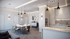 Interior Design, Grey Laminate Floor White Dining Chairs Mounted Wall Chest Of Drawer Wall Lamps Black Sofa Pendant Lamps Dining Table Cushion Chrome Single Hole Faucet And Kitchen Cabinet ~ Lovely Elegant Interior Design with Beautiful yet Minimalist Approach