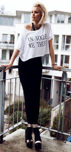 Leonie    LOU LOU White 'In Vogue We Trust' Crop Tee    LOVE Black High Neck Midi Dress