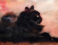 Black Cat art Print of an Original Watercolor, Sadie Sunbathing, by Rachel Parker