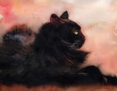 Black Cat art Print of my Original Watercolor by rachelsstudio, $25.00