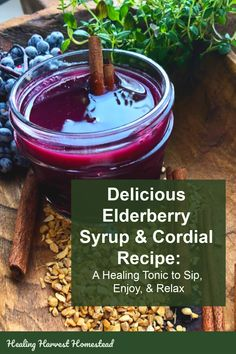 How to make elderberry syrup and turn it into a delicious sipping cordial for health and wellness. Elderberries have tremendous immune boosting powers, and now you can enjoy a little tonic toddy in the evening for your health! This home remedy is an easy Natural Health Tips, Natural Health Remedies, Herbal Remedies, Elderberry Recipes, Elderberry Syrup, Herbal Tinctures, Herbalism, Natural Medicine, Diy Home