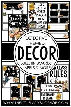 Get ready for back to school with the Detective decor theme! This editable set is fun, unique, and has everything you need to decorate your classroom with a cohesive look. The perfect DIY bundle for any elementary classroom, including posters, name plates, alphabet posters, teacher notebook, organization labels, bulletin board decor, and more! #thelittleladybugshop
