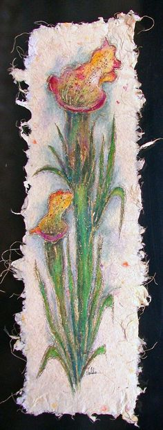 Flower painting on Hand made paper.