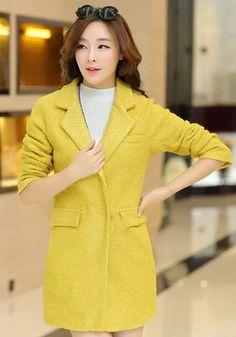 Gelbe Ebene Taschen Tweed-Mantel