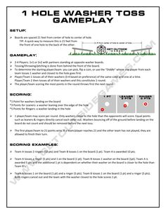 1 Hole Washer Toss Rules & Gameplay by GetOutsideGames.com   Ever wondered how to play the game? We put this easy read together just for you!