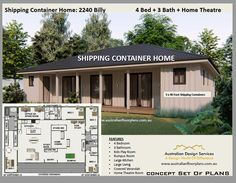 Cargo Container Homes, Container House Plans, Container House Design, Shipping Container Homes, Floor Plan 4 Bedroom, 4 Bedroom House Plans, House Plans One Story, Story House, Modern House Plans