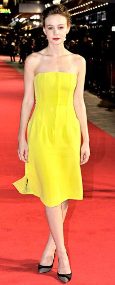 Carey Mulligan brightened the red carpet wearing a canary yellow, strapless Dior dress.
