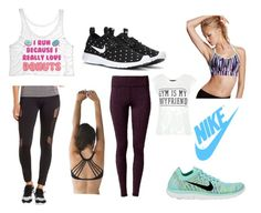 """""""Workout! Part 2"""" by alexandra-papazian12 ❤ liked on Polyvore featuring lululemon, NIKE, Charlotte Russe, Express, Victoria's Secret, nike and Donuts"""