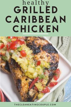 Looking for a yummy, healthy summer dinner? Try this easy Grilled Caribbean Chicken with Pineapple Salsa recipe! It's paleo, Whole30 and easy to make! Grill Recipes, Whole30 Recipes, Lunch Recipes, Healthy Dinner Recipes, Healthy Grilling, Easy Healthy Dinners, Healthy Meal Prep, Healthy Grilled Chicken Recipes, Healthy Chicken Recipes