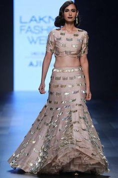 This set features a blush fringe tasseled embroidered blouse in dupion silk base paired with matching lehenga skirt. Lehenga Skirt, Lehnga Dress, Pink Lehenga, Bridal Lehenga Choli, Anarkali, Lakme Fashion Week, Men's Fashion, Indian Fashion, Fashion Dresses
