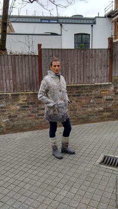 """Купить Пальто валяное """"Вечер туманный"""" - серебряный, пальто, пальто из шерсти, пальто женское"""