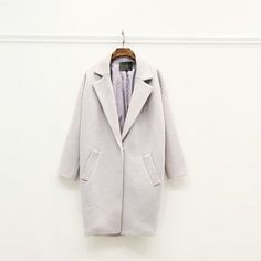 Winter Suit Collar Korean Cocoon Woolen Coat Single Button Thick Oversize