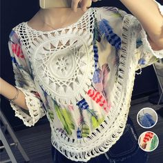 Summer Style Women Blouses Colorful Feather Print Lace Hollow Out Crochet Kimono Blouse Plus Size Shirt Tops Ropa Mujer 40303 Plus Size Shirts, Plus Size Blouses, Crochet Tops, Crochet Lace, Kimono Blouse, Hairpin Lace, Colorful Feathers, Lace Outfit, Feather Print