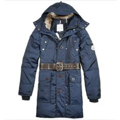 Moncler Men Fur Collar Long Down Coat In Blue [2899998] - £167.20 :