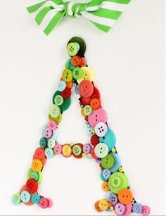 DIY Crafts : DIY Letter wall hangings out of buttons