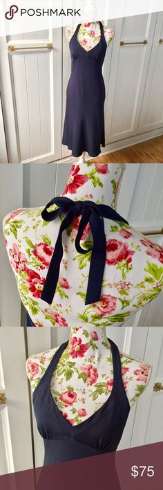 """J. Crew Silk Caroline Dress Gorgeous navy 100% silk (body) J. Crew dress. Halter with cute tie back. Hidden zipper. Falls 38"""" from top of bust. Will hit many ladies from knee to a few inches below. J. Crew Dresses"""