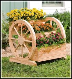 Solid Wood Wagon Wheel Tiered Planter - Plow & Hearth - Gardening For Life