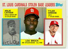 1984 Topps Cardinals Stolen Base Leaders, Baseball Cards That Never Were. Arlie Latham,  Lou Brock, St. Louis Brown Stockings, St. Louis Cardinals, Tyler Greene