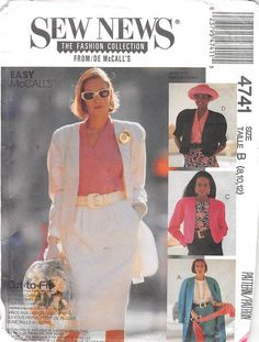 MCCALLS 4741 - FROM 1989 - UNCUT - MISSES LINED JACKET