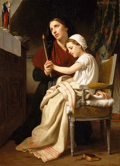 William-adolphe Bouguereau Painting - The Thank Offering by William-Adolphe Bouguereau