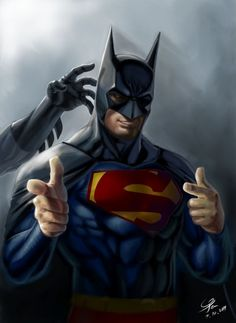 """Those that know how much I love batman will totally get why I find this hilarious! Even Superman wants to be Batman.yah hailey """"even superman wants to be batman"""". Poster Marvel, Poster Superman, Posters Batman, Batman Vs Superman, Batman Cape, Funny Superman, Batman Hero, Batman Versus, Batman Superhero"""