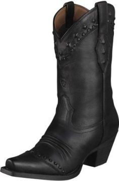 Ariat Women's Dixie Black Deertan 7. Womens Western Boots D Toe Boot *Premium Full Grain Leather Vamp And Shaft Provides Comfort D Pull On ATS 10001367