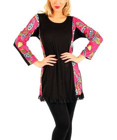 Look what I found on #zulily! Pink & Black Paisley Tunic by Aster #zulilyfinds