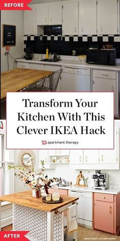 Before and After: This rental kitchen was completely transformed with one clever DIY IKEA hack. #ikeahack #ikeakitchen #kitchenhacks #kitchenremodel #kitchenDIY #KitchenIdeas #rentalkitchen #renterfriendly Ikea Kitchen, Kitchen Redo, Kitchen Remodel, Kitchen Styling, Kitchen Ideas, Cute Diy Room Decor, Diy Home Decor, Ikea Island Hack, Rental Kitchen Makeover