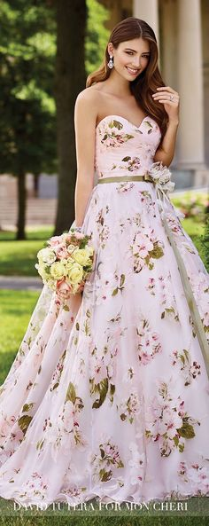 David Tutera for Mon Cheri Spring 2017 Collection - Style No. 117283 Orabelle - strapless pink floral wedding dress with satin ribbon flowered belt. Jewelry by Cassidy Earrings Mon Cheri Wedding Dresses, Mon Cheri Bridal, Bridal Dresses, Prom Dresses, Bridesmaid Dresses, Wedding Attire, Wedding Gowns, Decor Wedding, Wedding Ideas