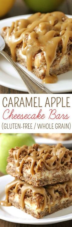 These healthier caramel apple cheesecake bars feature an oatmeal cookie-like crust / topping with a simple caramel glaze! {gluten-free, whole grain} Cheesecake Bars) Best Dessert Recipes, Apple Recipes, Fun Desserts, Delicious Desserts, Caramel Apple Cheesecake Bars, Cheesecake Recipes, Cheesecake Brownies, Gluten Free Sweets, Gluten Free Baking