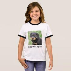 #Doggy McDogface Rottweiler Puppy Ringer T-Shirt - #rottweiler #puppy #rottweilers #dog #dogs #pet #pets #cute