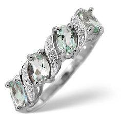 9K White Gold Diamond and Aqua Marine Ring 0.01ct £179