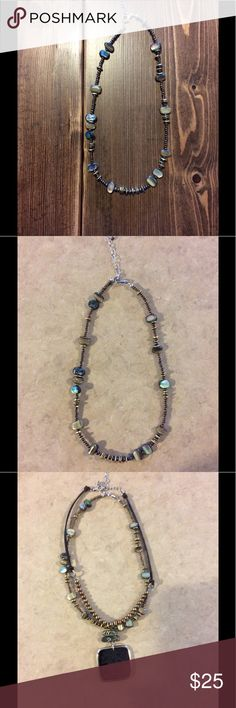 """Beautiful Silpada necklace Sterling silver 925 abalone and bronze seed bead necklace - N1729 Retired. Approximately 18"""" Silpada Jewelry Necklaces"""