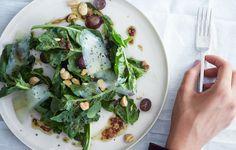 Arugula, Grape, and Almond Salad with Saba Vinaigrette Recipe - Bon Appétit Grape Recipes, Salad Recipes, Vegetarian Recipes, Cooking Recipes, Healthy Recipes, Healthy Food, Healthy Eating, Vegetarian Thanksgiving Menu, Thanksgiving Ideas