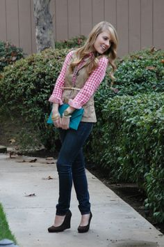 gingham shirt, vest, skinnies and wedges
